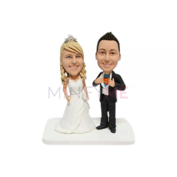 Bride and Superman Wedding Cake Topper